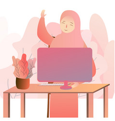 Beautiful arabic business woman working on vector