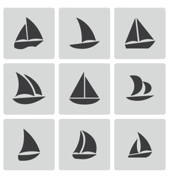 black sailboat icons set vector image