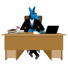Blue donkey democrat sitting in office animal vector