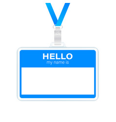 Blue hello my name is label sticker on white vector
