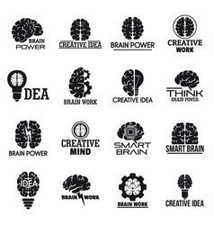 Brain logo set simple style vector
