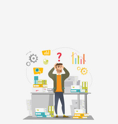 Businessman overloaded with work with papers vector