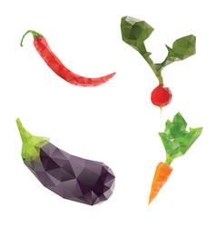 carrot pepper tomato diet vegan low poly vector image
