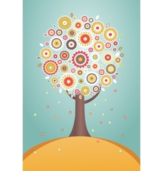 Cartoon tree with flowers vector image