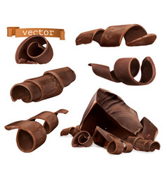 Chocolate shavings and pieces 3d set vector