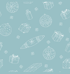 christmas background with hand drawn elements vector image