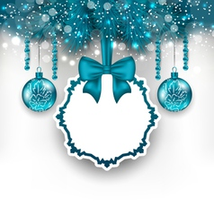 Christmas gift card with glass balls vector