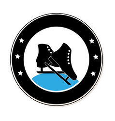 Circular frame with ice skates vector