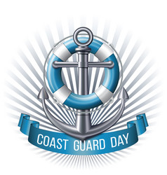 coast guard day greeting card nautical emblem vector image