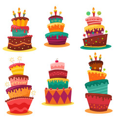 Collection colourful birthday cakes vector