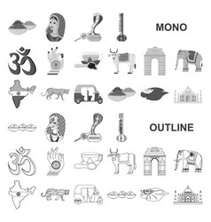Country india monochrom icons in set collection vector