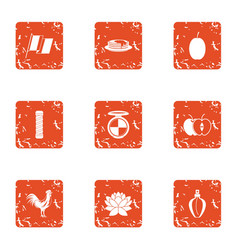 Country village icons set grunge style vector