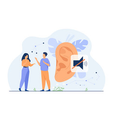 Couple deaf people talking with hand gestures vector