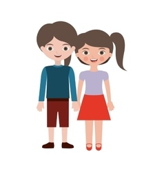 Couple kids togheter hands entwined vector