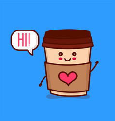 cute happy smiling paper coffee cup vector image