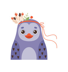 cute penguin wearing headdress with feathers and vector image