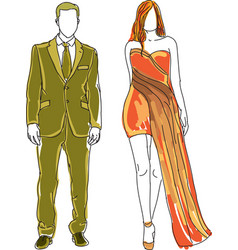 drawn man and woman vector image