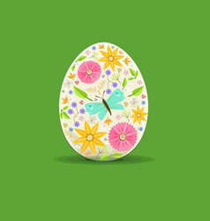 easter egg floral decoration vector image