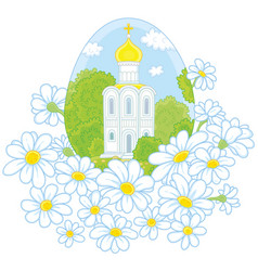 Easter egg with a church and flowers vector