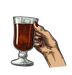 Female hand holding a glass of cocktail wine vector
