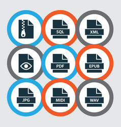File icons set with organize multimedia pdf and vector