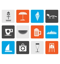 Flat beach and holiday icons vector