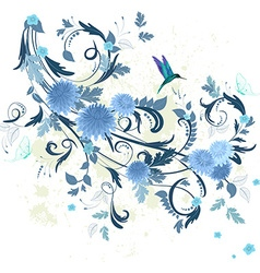 floral fancy with blue chrysanthemum for your vector image vector image
