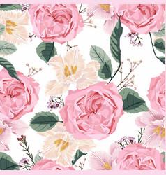 floral seamless pattern with watercolor pink roses vector image