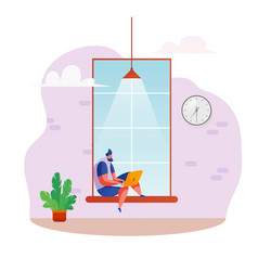 freelancer sits at windowsill at coworking vector image