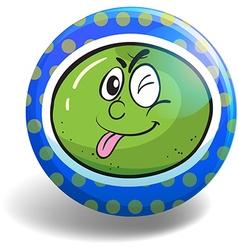 Fresh lime on blue badge vector