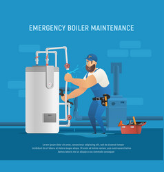 Fun plumber make emergency boiler maintenance vector