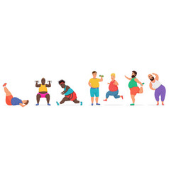 Funny cute chubby fat man characters set doing gym vector