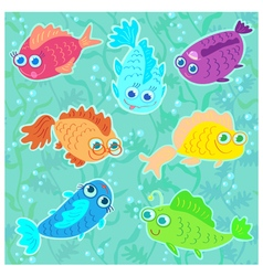 Funny Fish seamless pattern vector image