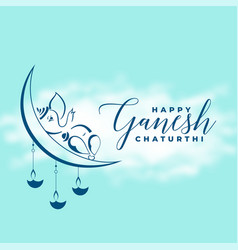 Ganesh chaturthi festival greeting with moon vector