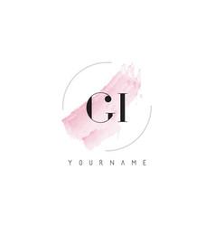 Gi g i watercolor letter logo design vector