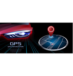 gps navigator red realistic car vector image