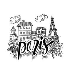 hand drawn symbols of paris vector image
