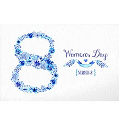 Happy Women day vintage flower card vector image