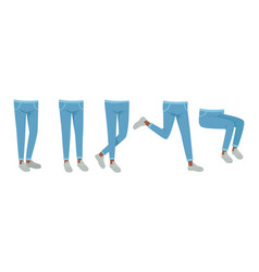human legs in jeans and shoes in various poses set vector image