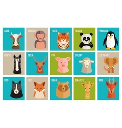 Icons animals and pets in flat style vector