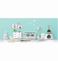Interior background with modern baby room vector