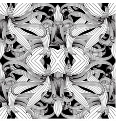 intricate floral black and white seamless vector image