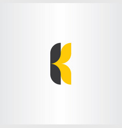 k letter logotype yellow black icon symbol vector image