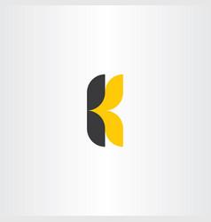 k letter logotype yellow black icon symbol vector image
