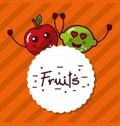 kawaii lemon apple cartoon fruits label vector image