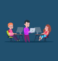 kids coding at computers cartoon character vector image