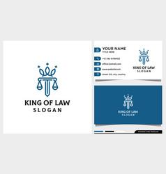 Law firm attorney pillar crown line art logo vector