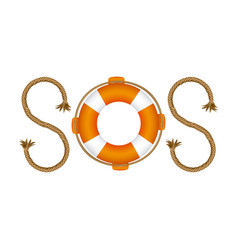 Life belt with rope sos inscription vector
