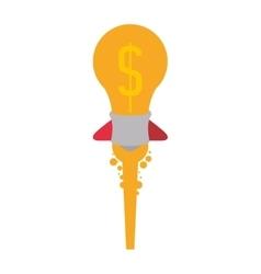 light bulb rocket start up innovation icon vector image