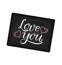 love you handwritten white text on blackbackground vector image